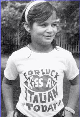 photo of Teddi Mervis wearing Kiss an Italian Today TShirt